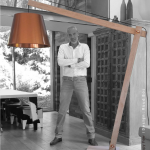 Designer Ruud Bos with lamp model: Happy Few